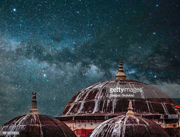 Milky Way above domes, Rhodes, Dodecanese, Greece