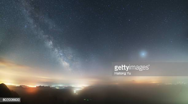milky way above mist - dramatic landscape stock pictures, royalty-free photos & images