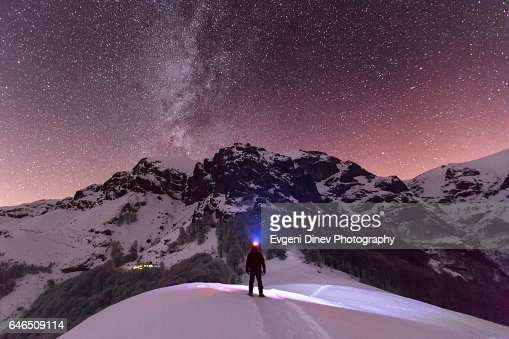 Milky Way above the winter mountain