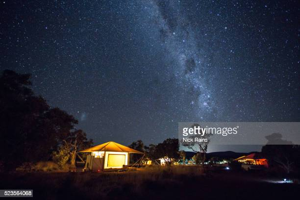 Milky Way and eco-tents in the evening