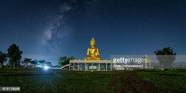 Milky way and Great Buddha Statue in Chiangrai , Thailand