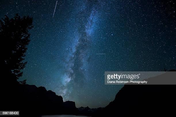 Milky Way and Meteors over Wild Goose Island, Montana
