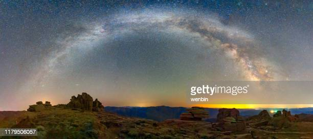 milky way and star galaxy over the mountain - astrophysics stock pictures, royalty-free photos & images