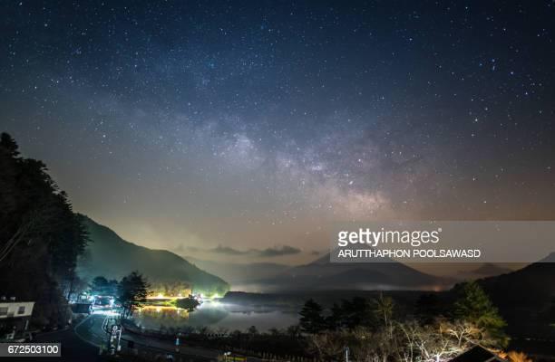 Milky way and star on Mt.Fuji , Shojiko lake , Yamanashi , Japan