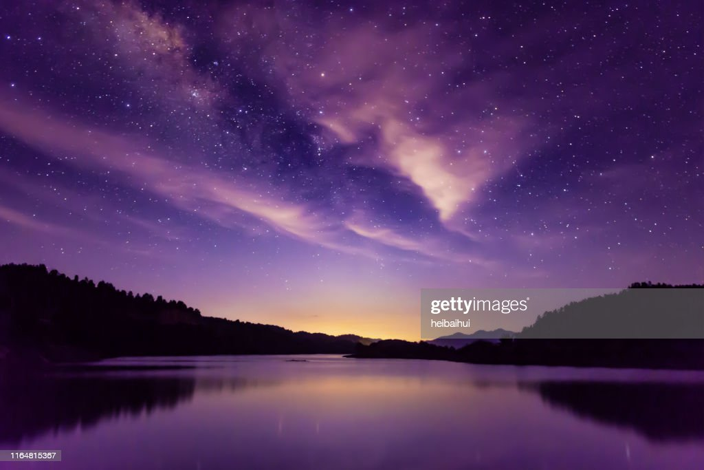 Milky way and Starry sky scene, South China : Stock Photo