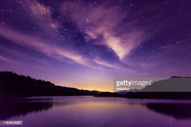 milky way and starry sky scene, south china - purple stock pictures, royalty-free photos & images