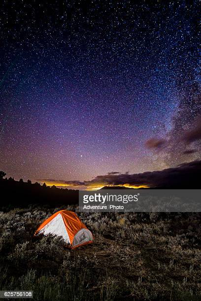 Milky Way and Stars at Camp with Tent