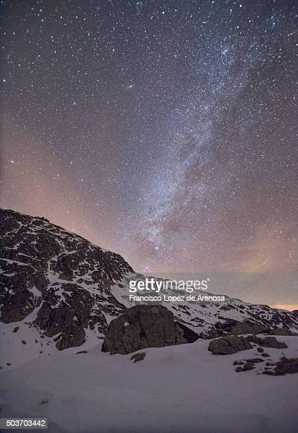 Milky way behind the mountain tops
