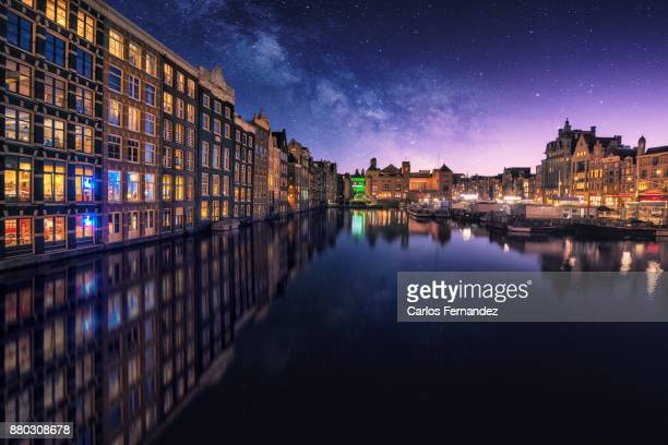 milky way damrak - amsterdam stock pictures, royalty-free photos & images