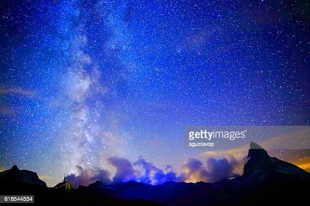 Milky Way galaxy above Matterhorn, Swiss Alps landscape at night