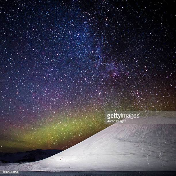 Milky Way Galaxy and Aurora Borealis, Iceland