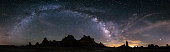Milky Way galaxy arch over the Trona Pinnacles