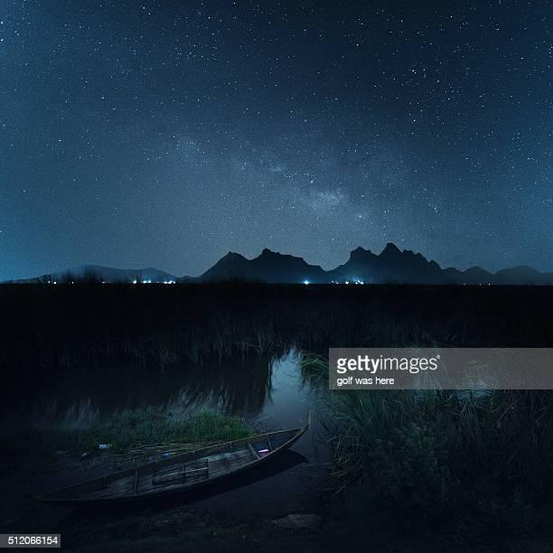 Milky Way Galaxy over a boat