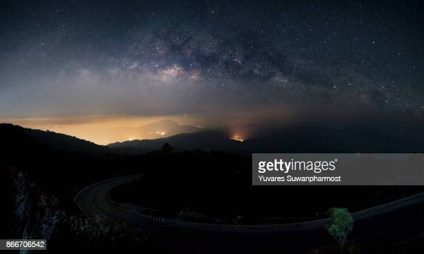 Milky Way Galaxy over Mountain at Night,in Thailand