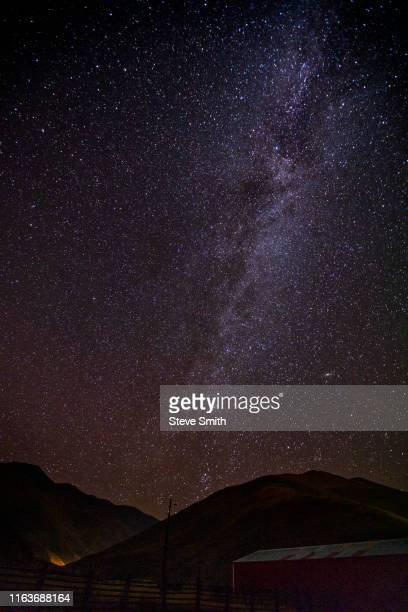 milky way galaxy over mountains - sun valley idaho stock photos and pictures
