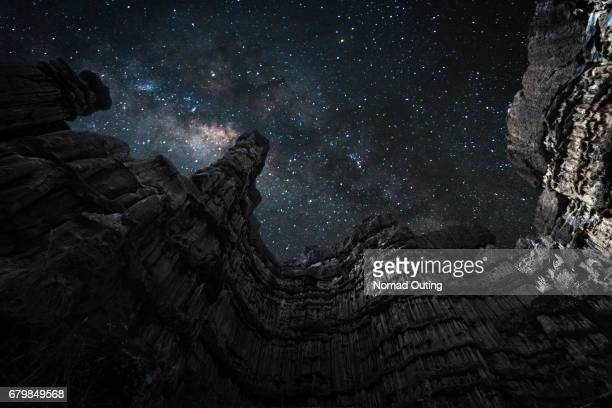 Milky way galaxy over nature architecture
