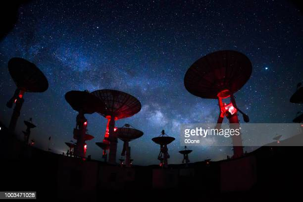 milky way galaxy over the satellite receiving station - stella cometa foto e immagini stock