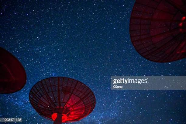 milky way galaxy over the satellite receiving station - receiver stock pictures, royalty-free photos & images