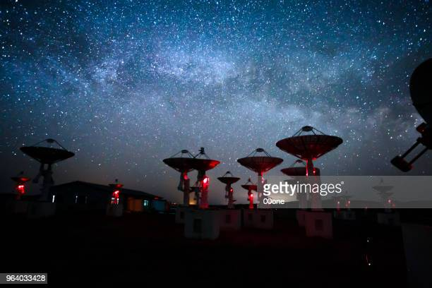 milky way galaxy & radio telescopes - stars and strings stock photos and pictures