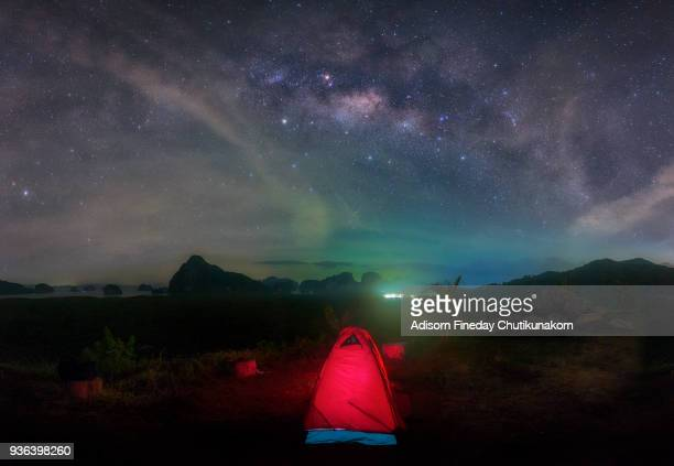 Milky Way galaxy stars shining over tents high at Phung-Nga bay,Thailand
