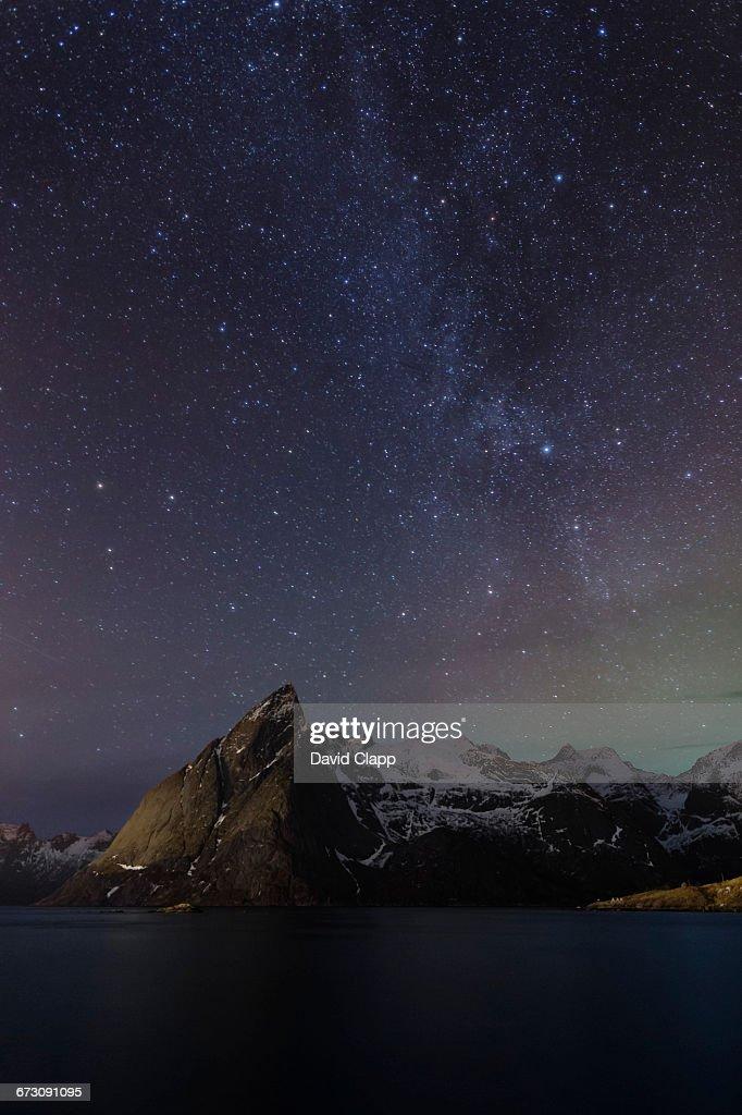 Milky Way, Hamnoy, Lofoten Islands, Norway : Stock Photo