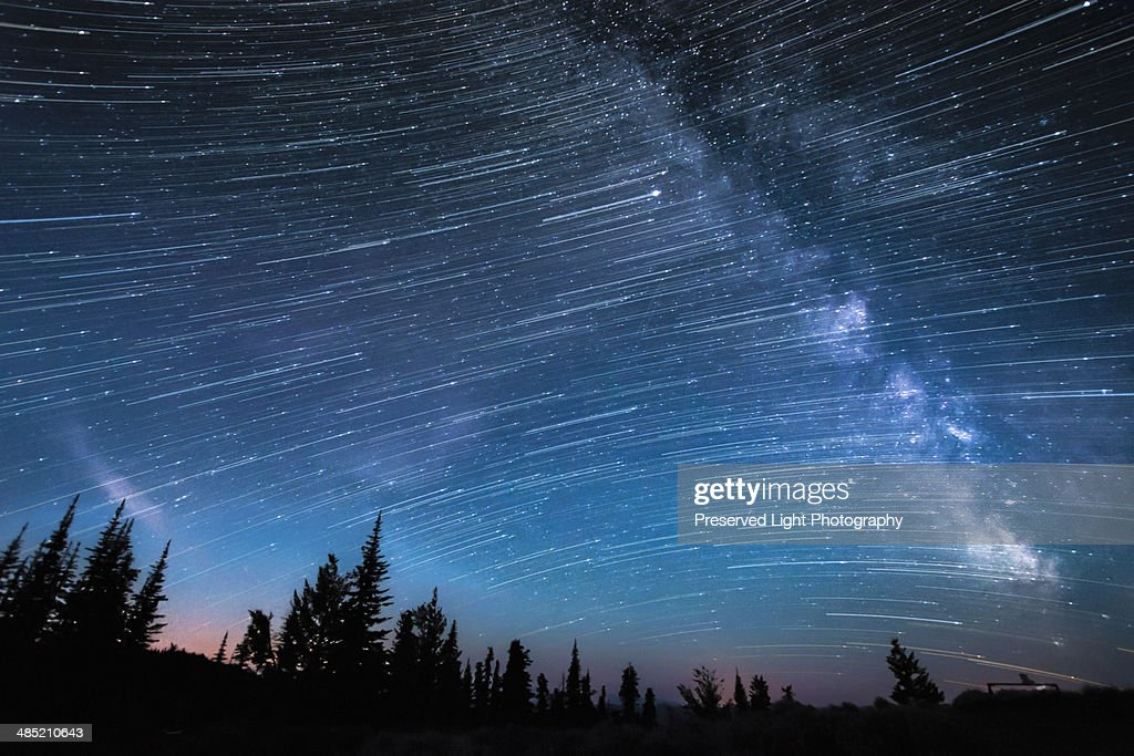 Milky way, hour-long time exposure, Osoyoos, British Columbia, Canada : Stock Photo