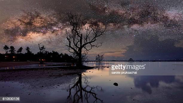 Milky way Night sky . Long exposure photograph with grain