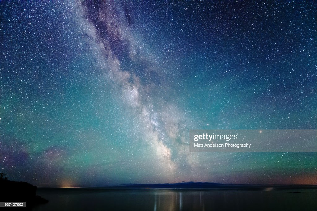 Milky Way Night Sky with Air Glow Light : Stock Photo