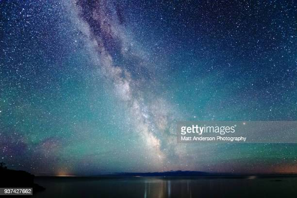 milky way night sky with air glow light - space exploration stock pictures, royalty-free photos & images