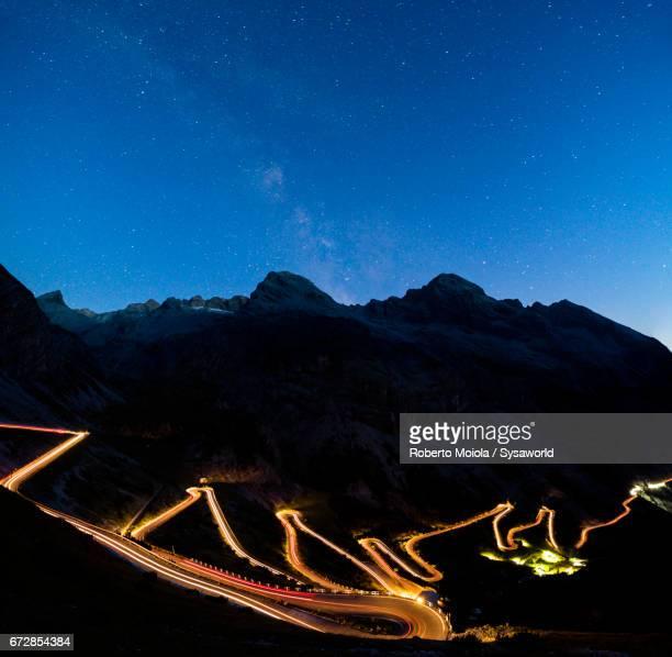 Milky way on Stelvio Pass Valtellina Lombardy Italy