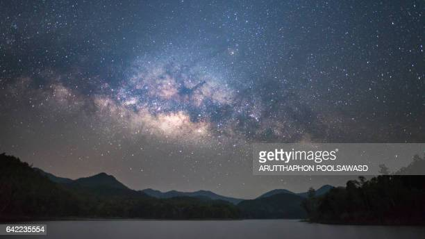 milky way on the lake - scientific exploration stock pictures, royalty-free photos & images