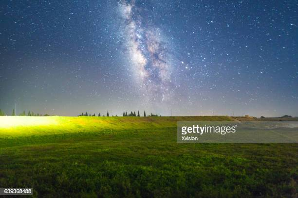 grass field at night. Milky Way On Top Of Grass Field At Night