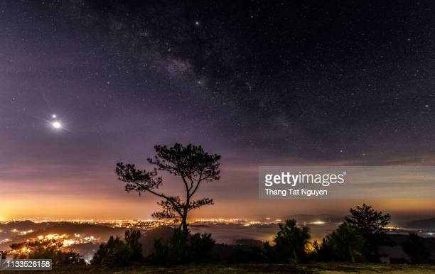 milky way on tree in city hill - cyprus island stock pictures, royalty-free photos & images