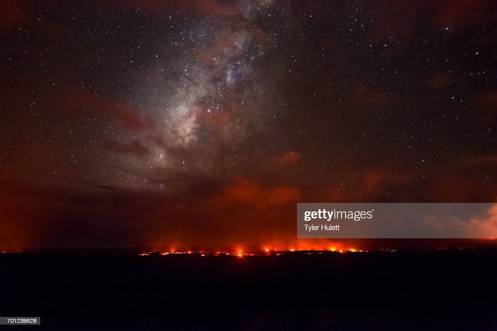 Milky Way over a Lava Flow in Hawaii : Stock Photo