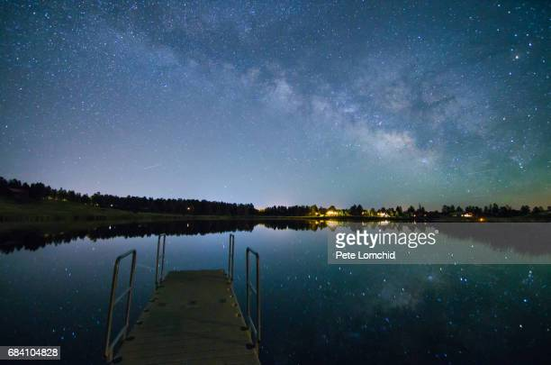 Milky Way over a little town