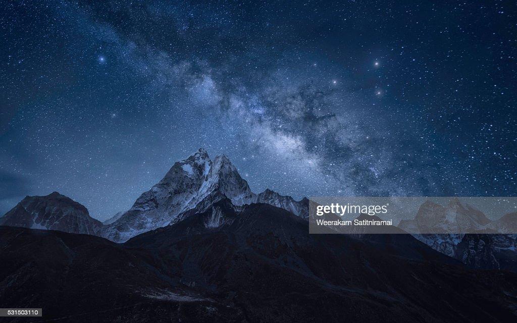 Milky way over Ama Dablam, Sagarmatha NP, Nepal : Stock Photo