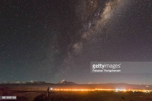 milky way over atacama desert, chile - antofagasta region stock photos and pictures