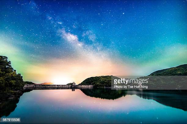 milky way over calm lake with reflection
