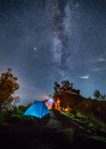 Milky way over Camping tent at Bromo mountain - gettyimageskorea