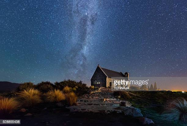 Milky way over church of Good Shepherd (Lake Tekapo)