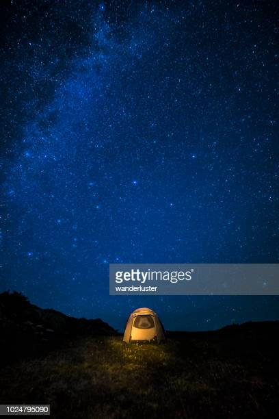 Milky Way over glowing tent at night sky in San Juan Mountains, Colorado