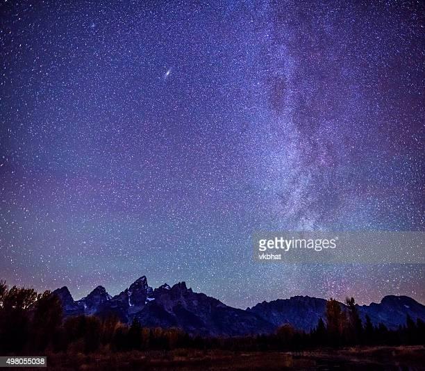 Milky way over Grand Teton Mountain Range