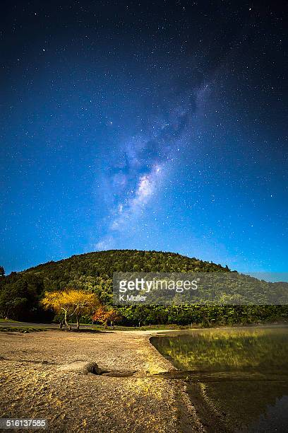 Milky Way over hill and lake