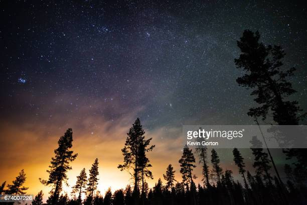 milky way over kiruna - swedish lapland stock photos and pictures