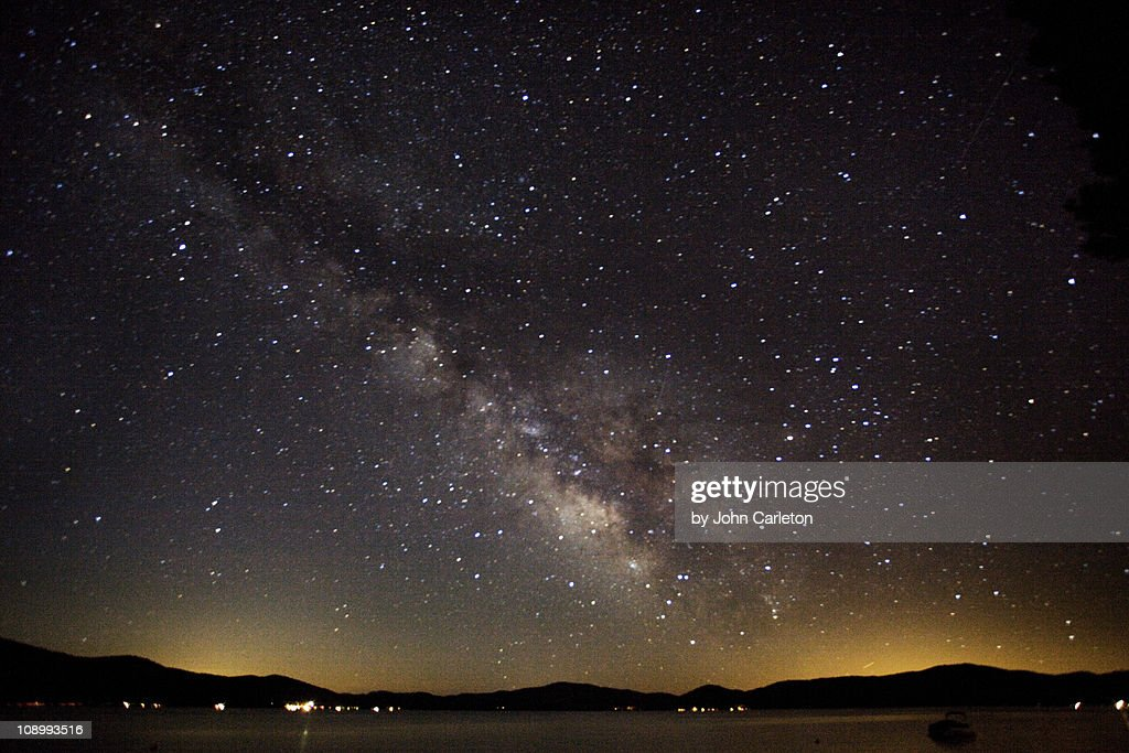 Milky Way over Lake Almanor : Stock Photo
