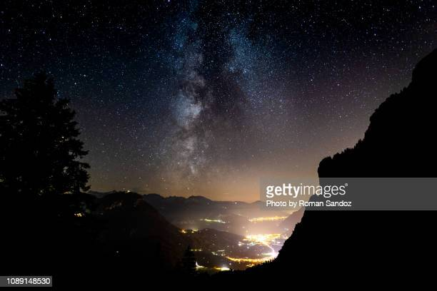 milky way over lake lucerne - schwyz stock pictures, royalty-free photos & images