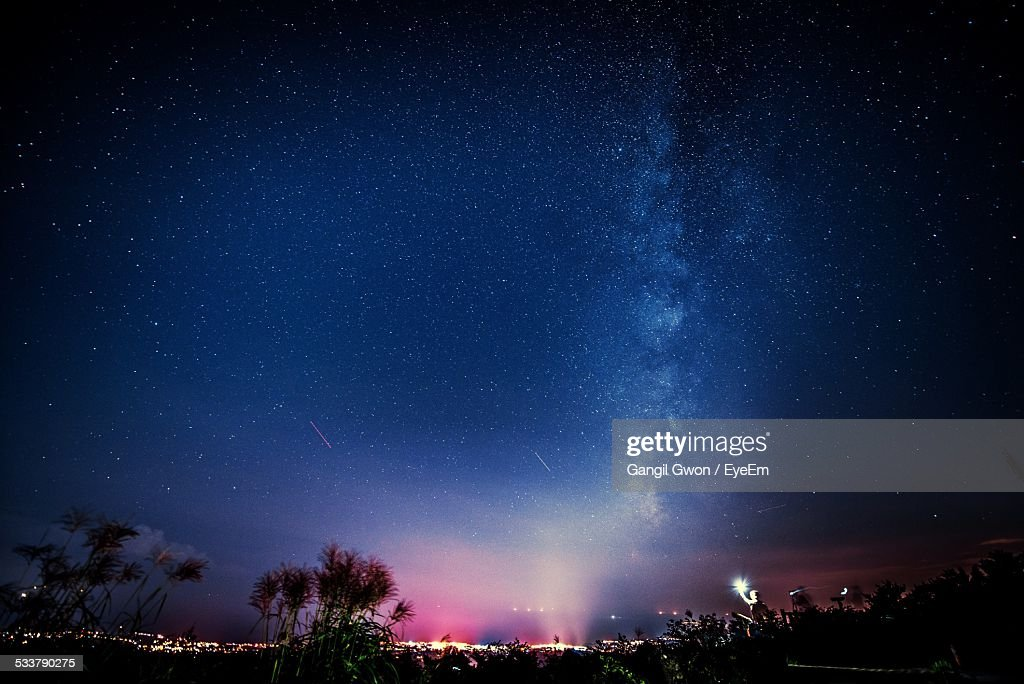 Milky Way Over Landscape At Night : Foto stock