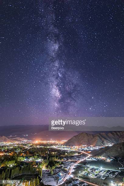 Milky way over Leh city in Leh Ladakh, India.