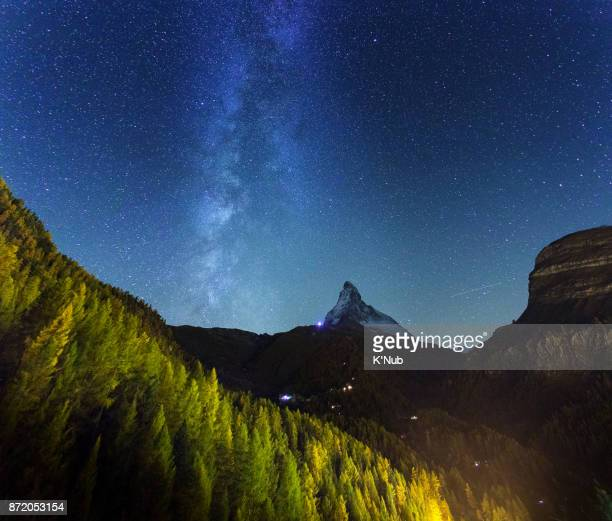 Milky way over Matterhorn mountain with a lot of pine tree from