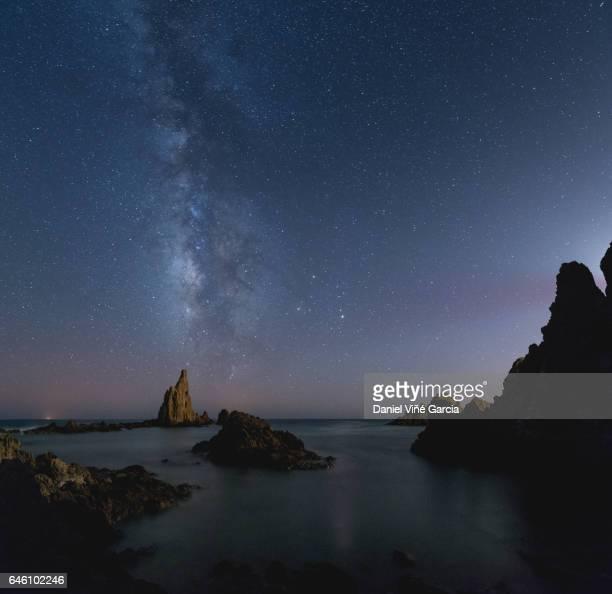 Milky Way over Mediterranean sea